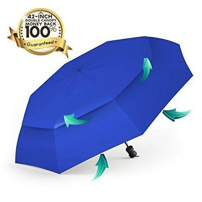 Automatic Travel Umbrella Auto Open Double Vented Compact Windproof Large 42""