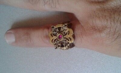 extremely ancient old ring bronze roman contains a stone