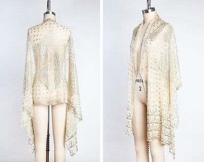 1920s Antique Egyptian Assuit Shawl, Art Deco Pattern, Vintage Wedding Bridal