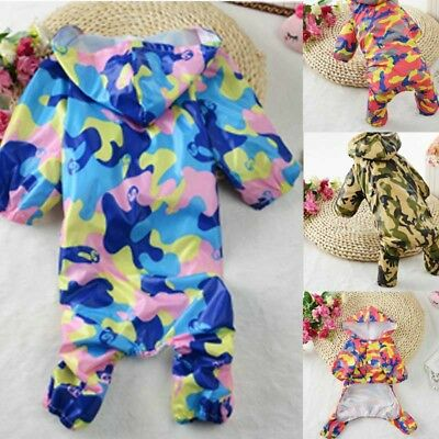 Pet Dog Waterproof Rain Coat Clothes Cat Puppy Jumpsuit Cute Camouflage Set