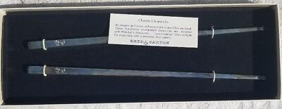 Reed & Barton ~ Silverplated Chopstick Set ~ Boxed ~ 1980s ~ Inscribed w Chinese