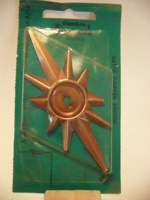VINTAGE NOS Satin COPPER STAR knob BACKPLATES Art Deco Catalina Amerock A-588-41