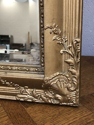 Large French Mirror Gold GiltPlaster Frame on Wood