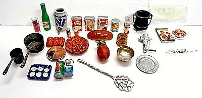Miniature Dollhouse Group of Food & Kitchen Items 28 pieces Signed Blueberry Pie
