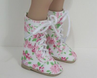 "FLORAL LaceUp Boots Doll Shoes For Dianna Effner 13"" Little Darling Vinyl (Debs)"