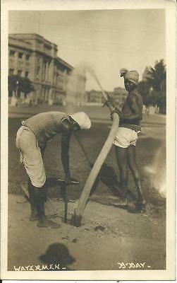 Watermen, Bombay, India Real Photographic Sepia Postcard 1920