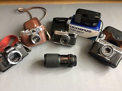 5 Vintage Camera + Lens Job Lot Olympus Trip  MD3 35 Canon Halina Ricoh