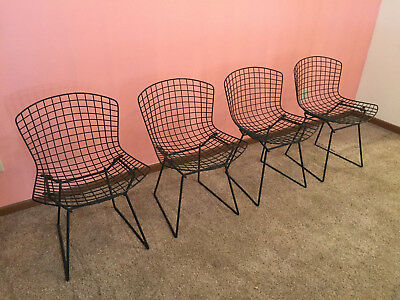Harry Bertoia Side Chairs made by Knoll, 4-Set, Black, Gently-Used