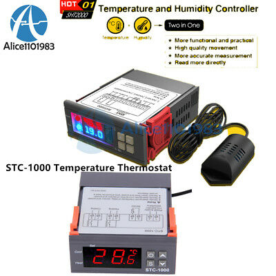 SHT2000 STC-1000 110-220/230V Temperature &Humidity Controller Thermostat Sensor