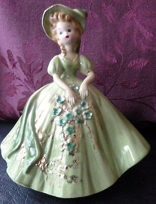 Vintage Josef Originals Lady in Green Colonial Outfit  Figurine
