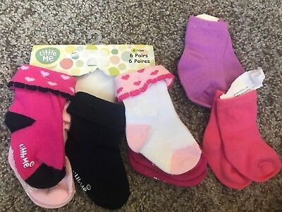 NWT BABY Girl LITTLE ME 5 PAIR PACK OF SOCKS SIZE 6-12 MONTHS, 2 Others Pairs