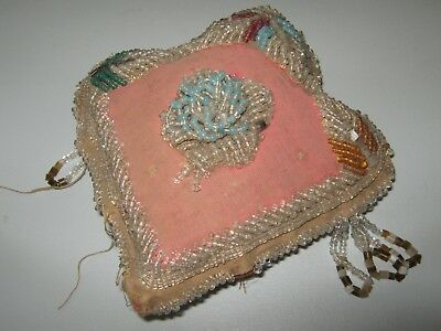 Lg Antique Beaded Heart Shaped Pin Cushion Pillow In Need of Repair