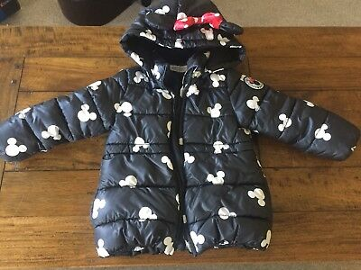H&m Girls Minnie Mouse Disney Black Coat 3-4 Years
