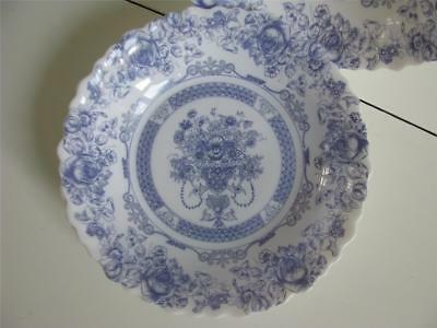"4 Arcopal HONORINE Soup Cereal Bowls 7-1/8"" France Scalloped Blue Floral"