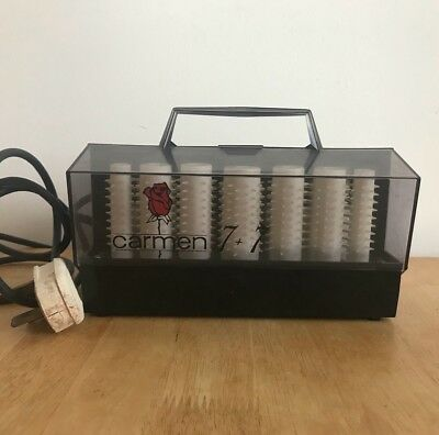 Vintage Hair Curlers Carmen 14 (7+7) Heated Rollers With Clips Waverer
