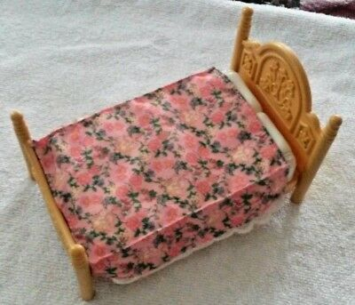 Fisher Price Loving Family Dollhouse Parents Floral Queen Double Bed Bedroom