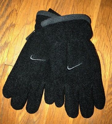 New Nwt Black Nike Fleece Gloves Youth Size One Size