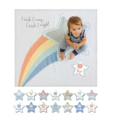 Baby's First Year Monthly Milestone Baby Blanket With Month Cards Photo Prop Set