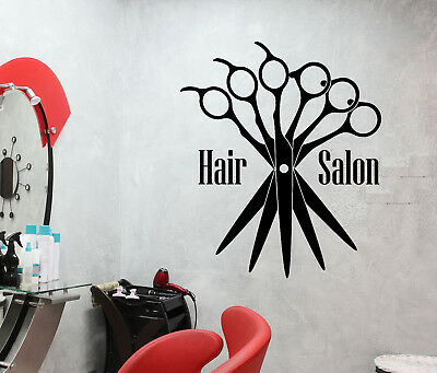 Vinyl Wall Decal Beauty Hair Salon Scissors Logo Barbershop Stickers (3029ig)