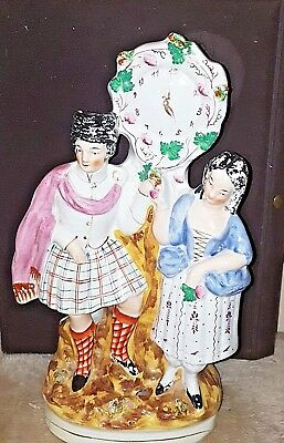 LARGE ANTIQUE mid. 19th VICTORIAN STAFFORDSHIRE FIGURE / FIGURINE  CLOCK GROUP