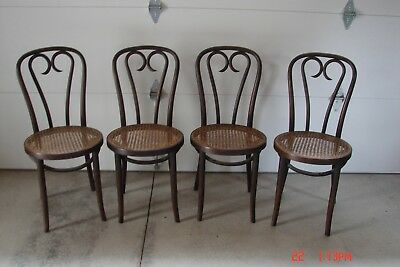 4-Antique BENTWOOD CANE ICE CREAM CHAIRS made in POLAND