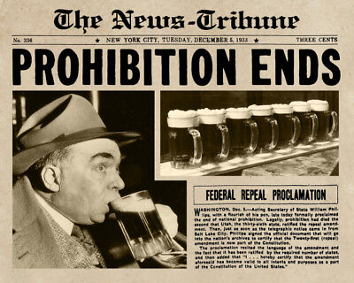 11x14 Photo Print: Prohibition Ends, Guy Drinks Beer