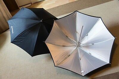 """Pair of Westcott Umbrellas - White Satin with Removable Black Cover - 32"""""""