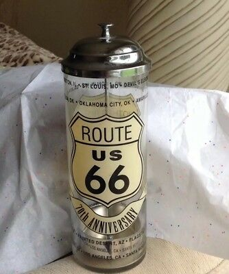 VTG Route 66 70th Anniv.1927-1997 Straw Glass &Chrome Canister ECU TODAY 15.99‼️