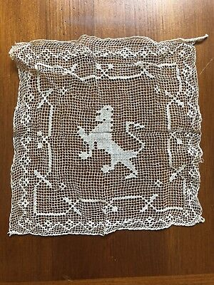 """Antique Fine Italian Figural Lace Animal  Hand Made Darned Filet Lace Insert 7"""""""