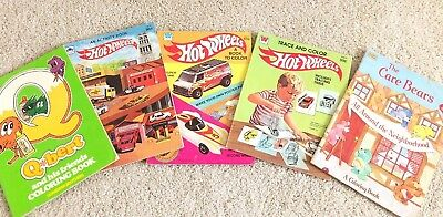 Vintage 1980s Hot Wheels Care Bears Qbert Coloring Books Lot