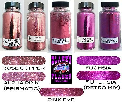 5 Pack Blake's Flocken Metal Flake Alle Rosa 2oz .015 Flaschen Lacksatz