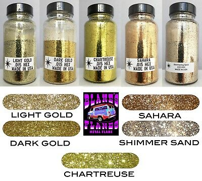 5 Pack Blake's Flocken Metal Flake Alle Gold 2oz .015 Flaschen Lacksatz