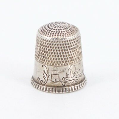 VTG Sterling Silver WAITE THRESHER CO. Etched Storyteller Sewing Thimble - 2.5g
