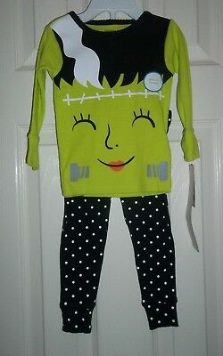 nwt-Carter's Girls-18 Mo-2 Piece Pajama Set-Glow-In-The-Dark-Monster-Halloween