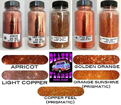 5 Pack Blake's Flocken Metal Flake Alle Orange 2oz .015 Flaschen Lacksatz