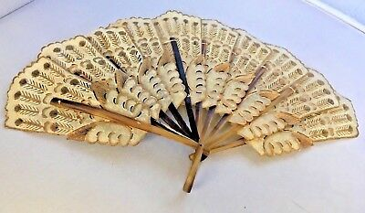 Vintage Vellum Fan Hand Gold Colored Accents Gilt Indonesian Java Brise
