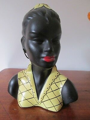 Unusual Original Black Lady Moss / Barsony Style  Table Lamp Yellow Dress shade