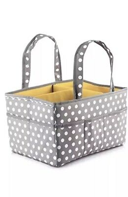 Large Baby Diaper Caddy Organizer Storage for Diapers Wipes Polka Dot 15X11X9