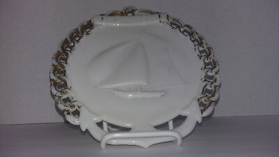 Vintage Westmoreland Anchor And Yacht Milk Glass Plate Bakers Dozen Series