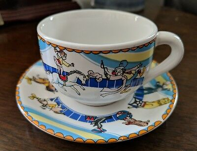 Childs Thick Sturdy Pottery Circus Theme Animals Performers Motif Cup Saucer