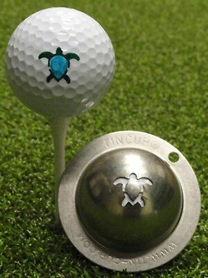 1 only TIN CUP GOLF BALL MARKER - HONU TURTLE - Yours For Life & EASY TO DO