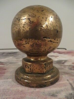 Antique Vintage Brass Ball Flag Pole Staircase Topper Finial
