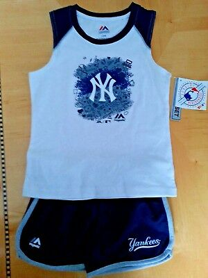 NEW NY YANKEES Tank Top and Short Set Size L 6X Kids Child Majestic NWT