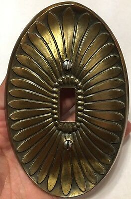 Vintage Brass Electrical Light Switch Cover Ornate Antique Design Oval