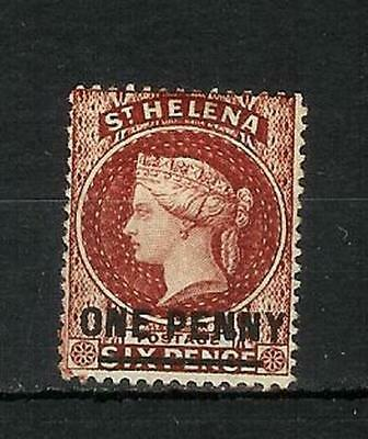 St. Helena    Victoria    One   Penny   Overprint