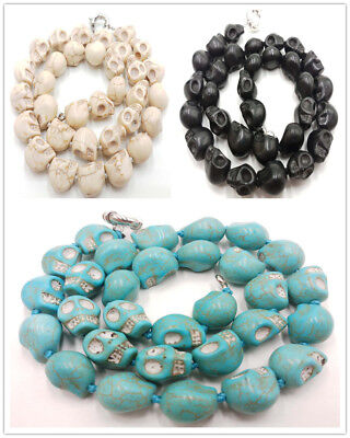 Hot 10x14mm Carving Skull Turquoise Gemstone Beads Necklace 18''
