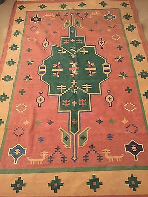 Vintage Kilim Style Carpet Rug 9ft By 6ft