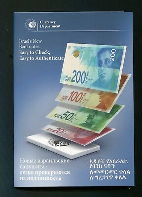 Israel New Banknotes 20 50 100 200 Shekels Information Book