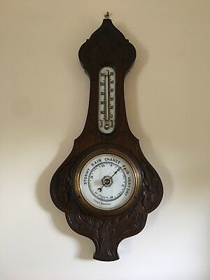 Antique English Carved Oak Aneroid Banjo Barometer and Thermometer