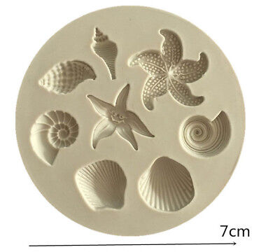 SEA SHELLS ANIMALS FISH Silicone Fondant Cake Topper Mold Mould Chocolate Candy2